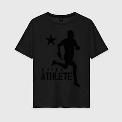 Футболка оверсайз женская Лёгкая атлетика цвета черный — фото 1