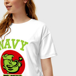 Футболка оверсайз женская Navy: Po-1967 цвета белый — фото 2