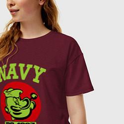 Футболка оверсайз женская Navy: Po-1967 цвета меланж-бордовый — фото 2