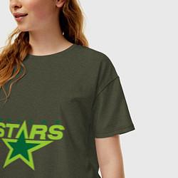 Футболка оверсайз женская Dallas Stars цвета меланж-хаки — фото 2