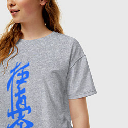 Футболка оверсайз женская Киокушинкай: иероглиф цвета меланж — фото 2