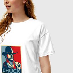 Футболка оверсайз женская Chuck Poster цвета белый — фото 2
