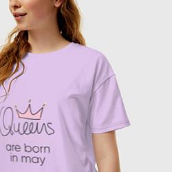 Футболка оверсайз женская Королевы рождаются в мае цвета лаванда — фото 2