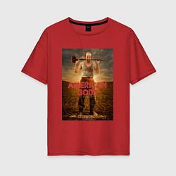Футболка оверсайз женская American Gods: Czernobog цвета красный — фото 1