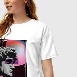 Женская удлиненная футболка с принтом Vapor David, цвет: белый, артикул: 10148981305825 — фото 2