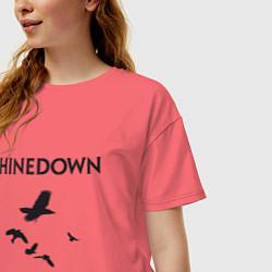 Футболка оверсайз женская Shinedown: Sound of Madness цвета коралловый — фото 2