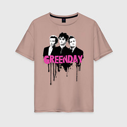 Футболка оверсайз женская The Green Day цвета пыльно-розовый — фото 1