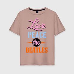 Футболка оверсайз женская Love peace the Beatles цвета пыльно-розовый — фото 1