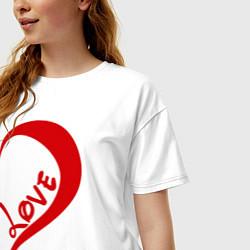 Футболка оверсайз женская One love: for him цвета белый — фото 2