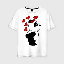Футболка оверсайз женская Поцелуй панды: для нее цвета белый — фото 1