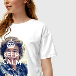 Футболка оверсайз женская Keep Calm & Love Harry Styles цвета белый — фото 2
