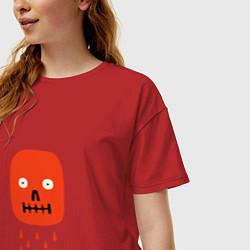 Футболка оверсайз женская Кнопка психодел цвета красный — фото 2