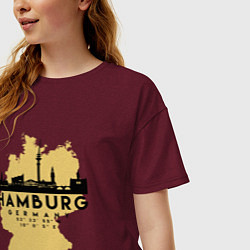 Футболка оверсайз женская Гамбург - Германия цвета меланж-бордовый — фото 2