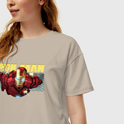 Футболка оверсайз женская Iron Man: Mark IV цвета миндальный — фото 2