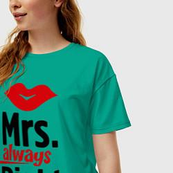 Футболка оверсайз женская Mrs. always right цвета зеленый — фото 2
