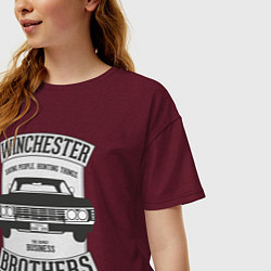 Футболка оверсайз женская Impala Winchesters цвета меланж-бордовый — фото 2
