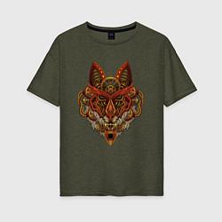 Женская удлиненная футболка с принтом Меха Лиса Steampunk Fox Z, цвет: меланж-хаки, артикул: 10289812705825 — фото 1
