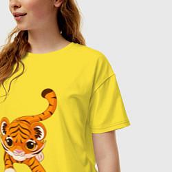Футболка оверсайз женская Милый Тигренок цвета желтый — фото 2