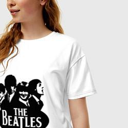 Футболка оверсайз женская The Beatles Band цвета белый — фото 2