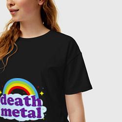 Футболка оверсайз женская Death Metal: Rainbow цвета черный — фото 2