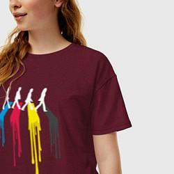 Футболка оверсайз женская Abbey Road Colors цвета меланж-бордовый — фото 2