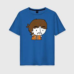Футболка оверсайз женская George Harrison Boy цвета синий — фото 1