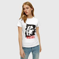 Футболка хлопковая женская Nirvana: Kurt Cobain цвета белый — фото 2