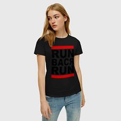 Футболка хлопковая женская Run Вася Run цвета черный — фото 2