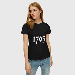Футболка хлопковая женская 1703 цвета черный — фото 2