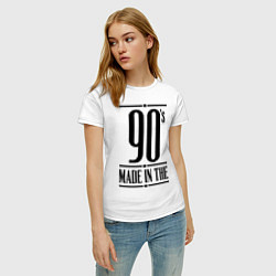 Футболка хлопковая женская Made in the 90s цвета белый — фото 2