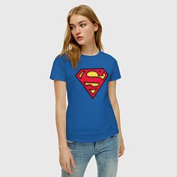 Футболка хлопковая женская Superman logo цвета синий — фото 2