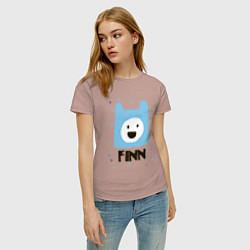 Футболка хлопковая женская Время приключений Finn цвета пыльно-розовый — фото 2