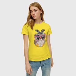 Футболка хлопковая женская Милая сова на облачках цвета желтый — фото 2