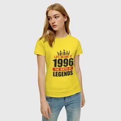 Футболка хлопковая женская 1996 - рождение легенды цвета желтый — фото 2