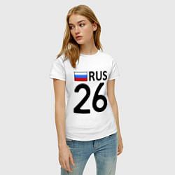 Футболка хлопковая женская RUS 26 цвета белый — фото 2