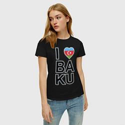 Футболка хлопковая женская Baku цвета черный — фото 2