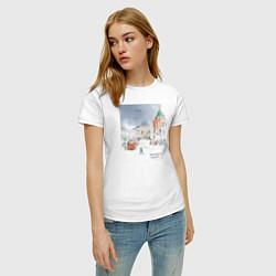 Футболка хлопковая женская Нижегородский троллейбус цвета белый — фото 2