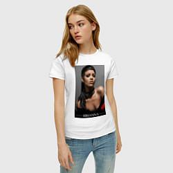Футболка хлопковая женская Rihanna: portrait цвета белый — фото 2