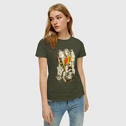 Женская хлопковая футболка с принтом Герои Тарантино, цвет: меланж-хаки, артикул: 10062587000002 — фото 2
